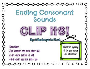 Clip Its!  Ending Consonant Sounds