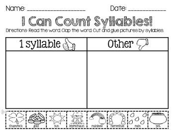 Clip 'N Learn Syllable Activity Cards (St. Patrick's Day Theme)