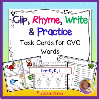 Clip, Rhyme, Write and Practice CVC Task Cards