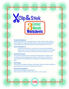 Clip & Stick 3 Letter Words - Pac 4