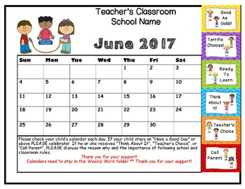 Behavior Clip Up Chart Calendar 2016-17 - Stick Kids