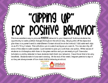 Clip Up For Positive Behavior