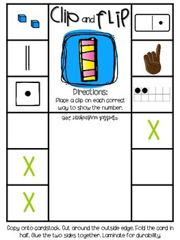 Clip and Flip Cards: Representing Numbers 1-20 Edition
