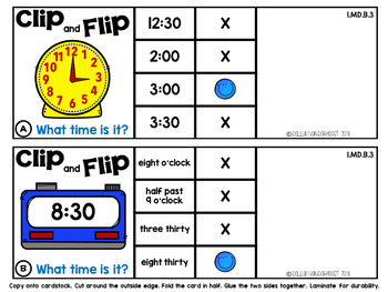 Clip and Flip Cards: Time to the Nearest Half Hour