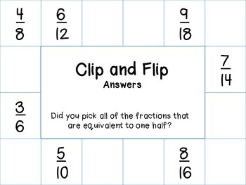 Clip and Flip Equivalent Fractions