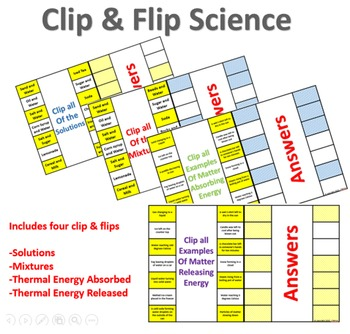 Clip and Flip Science (Mixtures, Solutions, Energy)