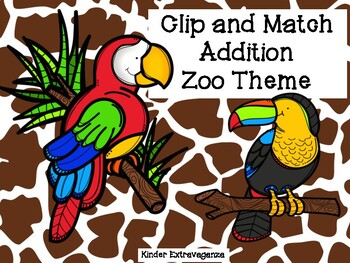 Clip and Match Addition Zoo Theme