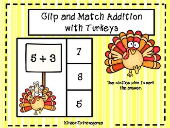 Clip and Match Addition with Turkeys
