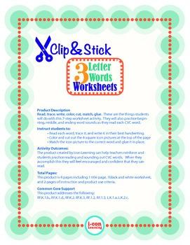 Clip & Stick 3 Letter Words - Pac 1
