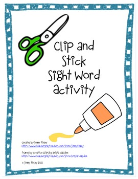 Clip and Stick Sight Word Activity