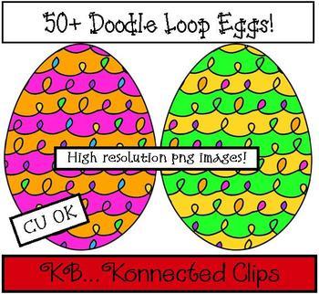 Clip art - 50+ Doodle Loop Eggs (commercial use)