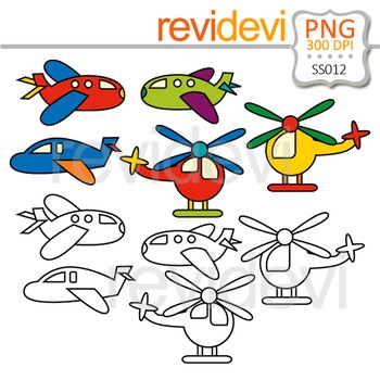Clip art Airplane and Helicopter - Transportation clip art and line art