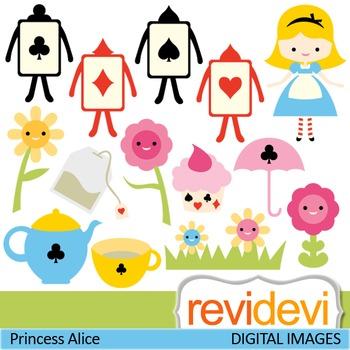 Clip art: Girl in Wonderland inspired (girl, tea party, pl