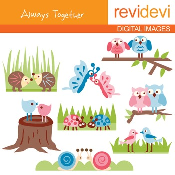 Clip art: Always together (animals in pair) pink, blue, 07150