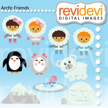 Clip art Arctic Friends 07446 (eskimo, alaska, kids, bear, penguin, ice) 07446