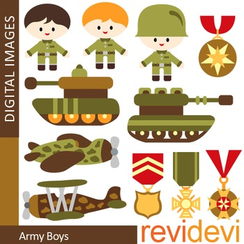 Clip art Army boys (soldier, military, tank, emblem, planes) clipart