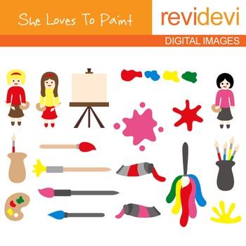 Clip art Art class (girls, painting, brush, canvas)