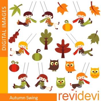 Clip art Autumn Kids Swinging (swing, autumn leaves, owls,