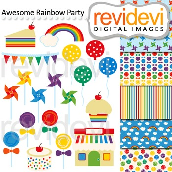 Clip art Awesome Rainbow Party 07472 (balloons, pinwheels, candy, lollipops)