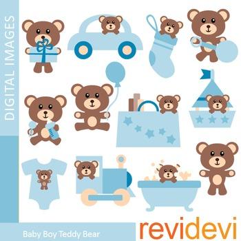 Clip art Baby Boy Blue Teddy Bear