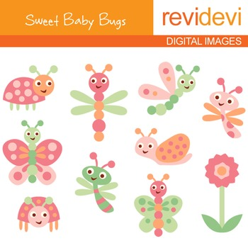 Clip art Baby Bugs (pink, lime) cute clipart