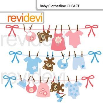 Clip art: Baby clothesline for baby boy and girl