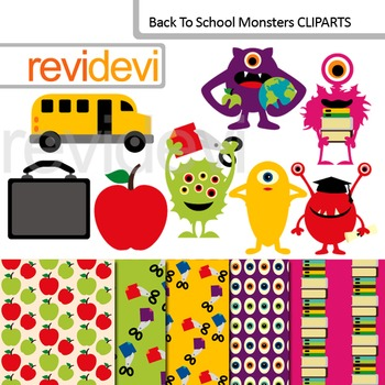 Clip art Back To School Monsters (clipart and digital papers) commercial use