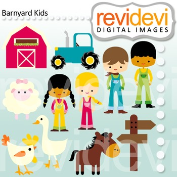Clip art Barnyard Kids 07456 (farm animals, farmers, kids)