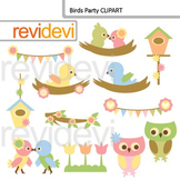 Clip art Birds Party (nest, bird, owl, banners, birdhouse, flower) clipart