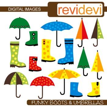 Clip art Boots and Umbrellas (rainy day clipart) digital images