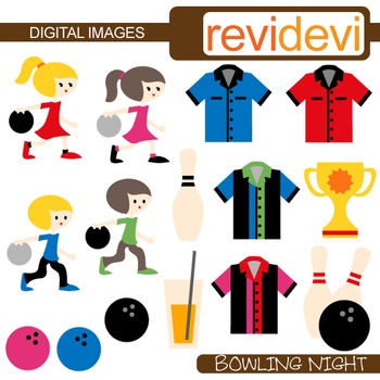 Clip art Bowling Night (kids, sport) commercial use clipart