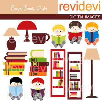 Clip art Boys book club (boys sitting and reading book, library, book shelves)