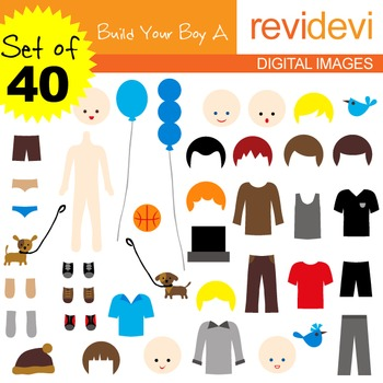 Clip art Build Your Boy A Set of 40 (DIY paper doll) 07073