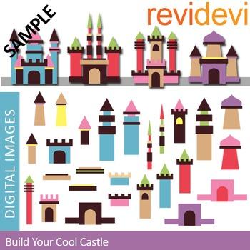 Clip art Build your cool castle (DIY mix and match) clipart 07329