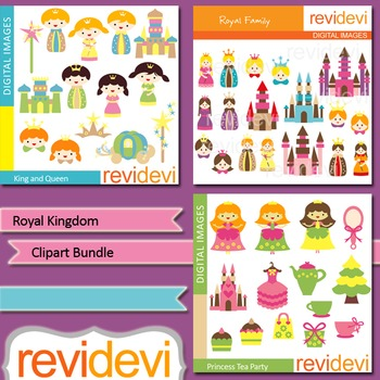 Clip art Bundle Royal Kingdom (3 packs) king, queen, prince, princess