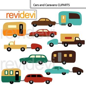 Clip art Cars and Caravans (transportation theme digital clipart)