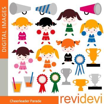 Clip art Cheerleader Parade (girls, trophy) clipart for teachers, 07360