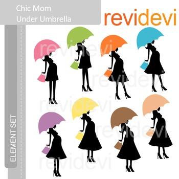 Clip art Chic Mom Under Umbrella (maternity, pregnancy) E073