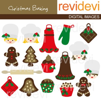 Clip art Christmas Baking (chef, apron, gingerbread, cupcake, kitchen) 08085