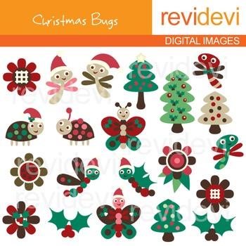 Clip art Christmas Bugs (trees, ladybugs, butterflies) clipart 08070