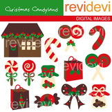 Clip art Christmas Candyland (sweets, lollipop, candy house) clipart 08082