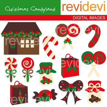 Clip art Christmas Candyland (sweets, lollipop, candy hous
