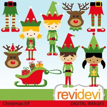Christmas clip art: elf, kids, santa's helper