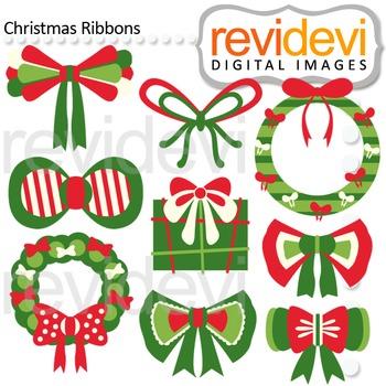 Clip art Christmas Ribbons (red, green) clipart for teachers, 08126