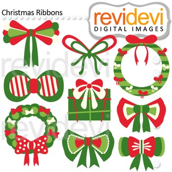 Clip art Christmas Ribbons (red, green) clipart for teachers, 08126