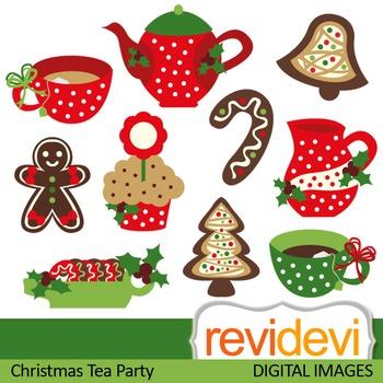 Clip art Christmas Tea Party (tea pot, tea cup, red, green, gingerbread) 08114