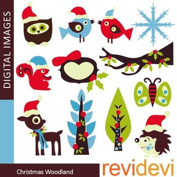 Christmas clip art: woodland animals