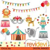 Clip art: Circus (clown juggling, balloons, elephant, tiger)