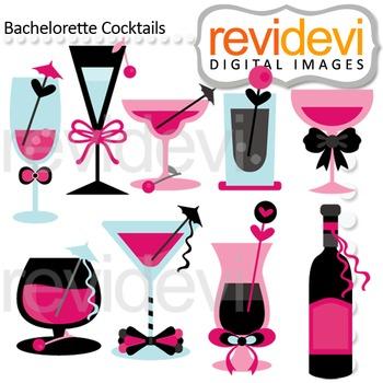 Clip art Cocktails black pink turquoise (diva night, bachelorette party) clipart