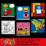 Clip art Color By Code Superhero School